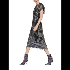 New Metallic Lace Midi BCBGMAXAZRIA Dress